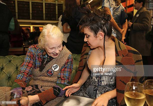 Vivienne Westwood and Charli XCX pose backstage following the Vivienne Westwood show during London Fashion Week Autumn/Winter 2016/17 at Royal...
