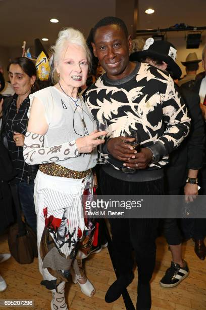 Vivienne Westwood and David Harewood attend the Vivenne Westwood SS18 show during the London Fashion Week Men's June 2017 collections on June 12 2017...