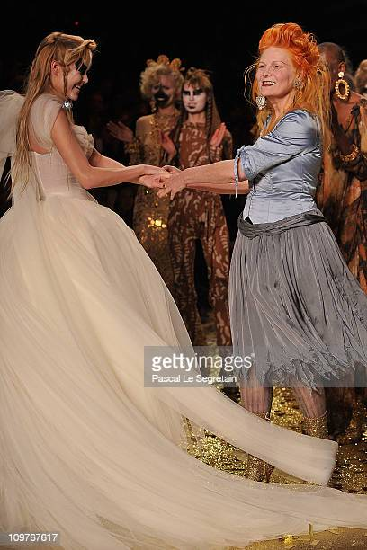 Vivienne Westwood and models walk the runway during the Vivienne Westwood Ready to Wear Autumn/Winter 2011/2012 show during Paris Fashion Week at...