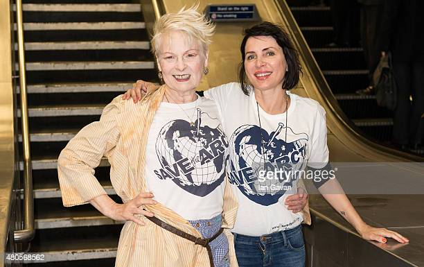 Vivienne Westwood and Sadie Frost attend the Save The Arctic Collection launch at Waterloo Station on July 13 2015 in London England