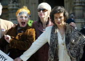 Vivienne Westwood Annie Lennox and Bianca Jagger during Trident Replacement Vote CND Parliamentary Protest at Houses of Parliament in London United...