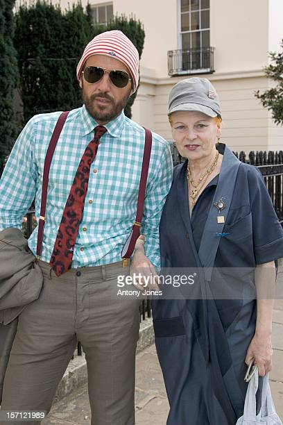 Vivienne Westwood Arrives At A Press Conferences To Present Fashion For Relief To Raise Money For The Rotary Flood Disaster Appeal At The Rotary Club...