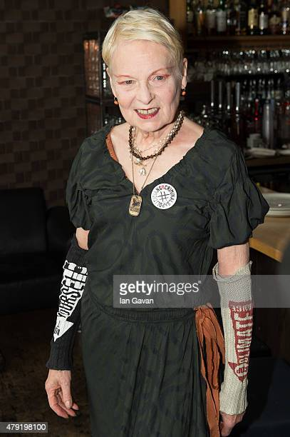 Vivienne Westwood attend the Artists Against TTIP Photocall at the Young Vic Theatre on July 2 2015 in London England