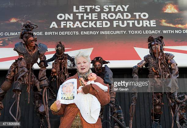 Vivienne Westwood attends a photocall to launch TalkFracking's mock Conservative/Labour election billboard on April 27 2015 in London England