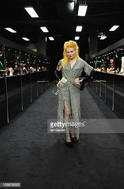 Vivienne Westwood attends the press view of 'Vivienne Westwood Shoes An Exhibition 1973 2010' at Selfridges Ultra Lounge on August 25 2010 in London...