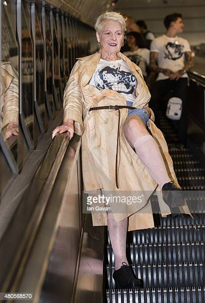 Vivienne Westwood attends the Save The Arctic Collection launch at Waterloo Station on July 13 2015 in London England