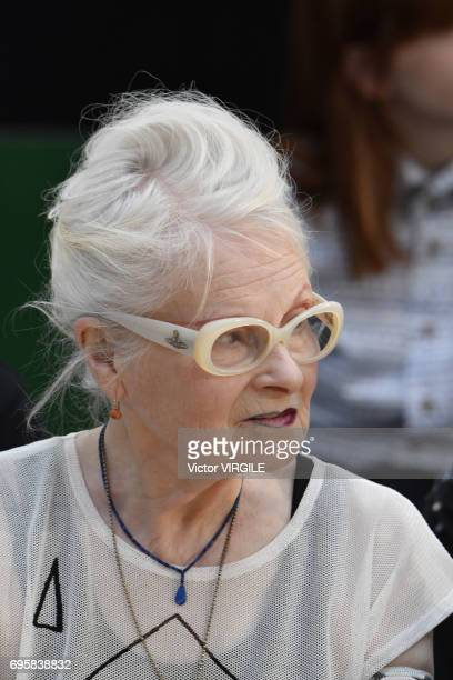 Vivienne Westwood directing the rehearsal of the Vivenne Westwood fashion show during the London Fashion Week Men's June 2017 Spring Summer 2018...