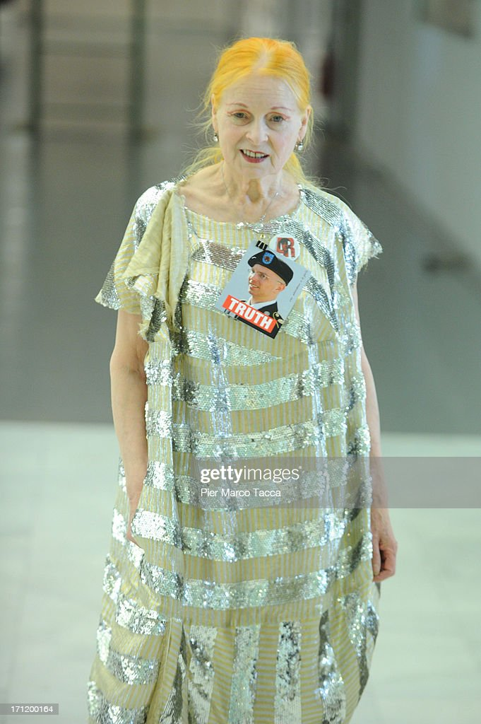 <a gi-track='captionPersonalityLinkClicked' href=/galleries/search?phrase=Vivienne+Westwood+-+Fashion+Designer&family=editorial&specificpeople=853100 ng-click='$event.stopPropagation()'>Vivienne Westwood</a> during backstage at the <a gi-track='captionPersonalityLinkClicked' href=/galleries/search?phrase=Vivienne+Westwood+-+Fashion+Designer&family=editorial&specificpeople=853100 ng-click='$event.stopPropagation()'>Vivienne Westwood</a> show during Milan Menswear Fashion Week Spring Summer 2014 on June 23, 2013 in Milan, Italy.