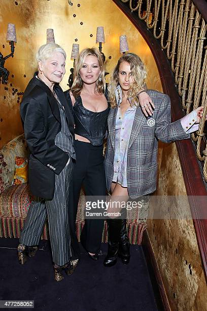 Vivienne Westwood Kate Moss and Alice Dellal attend Anotherman 10th anniversary party at Lou Lou's 5 Hertford Street Mayfair on June 15 2015 in...