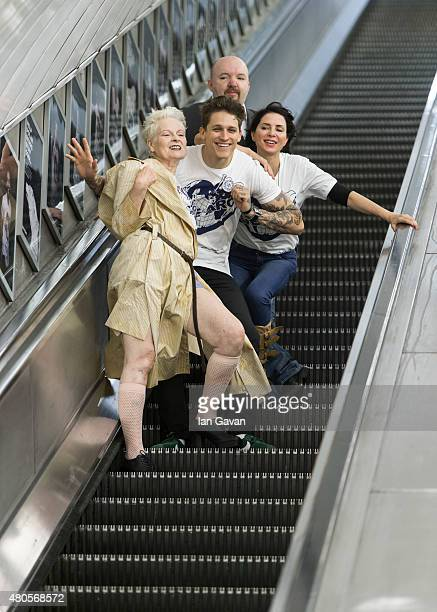 Vivienne Westwood Leebo Freeman Andy Gotts and Sadie Frost attend the Save The Arctic Collection launch at Waterloo Station on July 13 2015 in London...