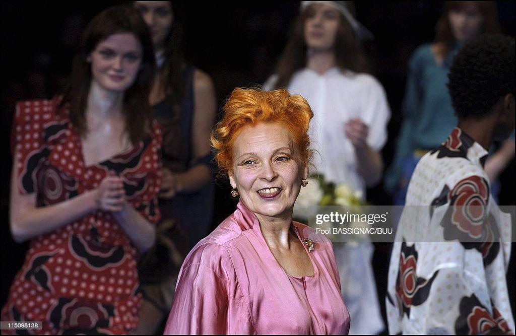 Vivienne Westwood Springsummer 2004 readytowear collection in Paris France on October 08 2003 The designer Vivienne Westwood