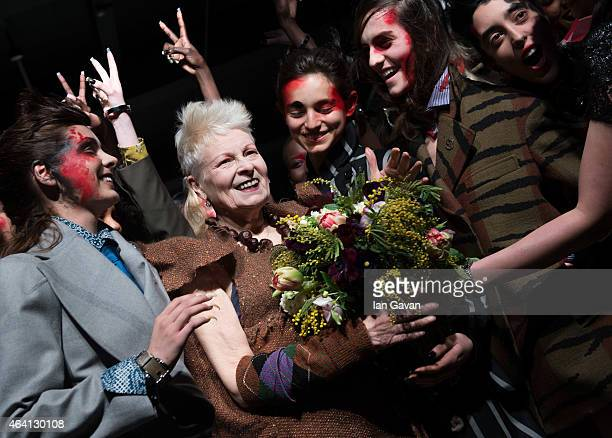 Vivienne Westwood walks the runway after her Vivienne Westwood Red Label show during London Fashion Week Fall/Winter 2015/16 at Science Museum on...