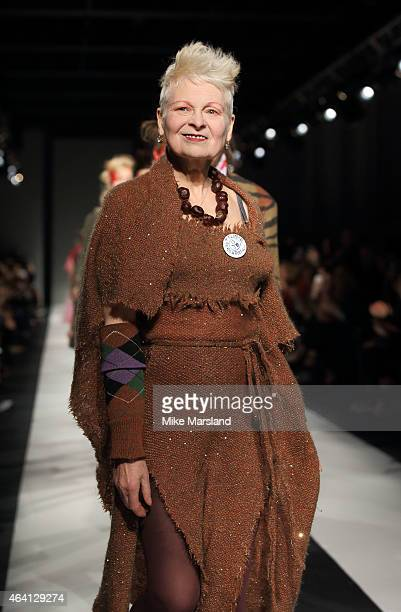 Vivienne Westwood walks the runway at the Vivienne Westwood Red Label show during London Fashion Week Fall/Winter 2015/16 at Science Museum on...