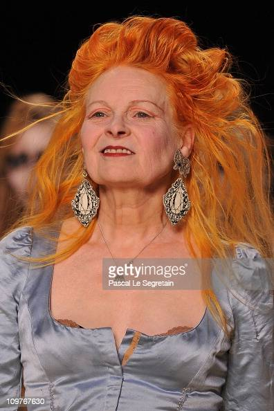 Vivienne Westwood walks the runway during the Vivienne Westwood Ready to Wear Autumn/Winter 2011/2012 show during Paris Fashion Week at Pavillon...