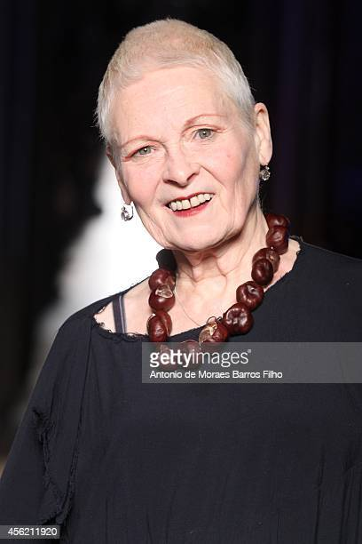 Vivienne Westwood walks the runway during the Vivienne Westwood show as part of the Paris Fashion Week Womenswear Spring/Summer 2015 on September 27...