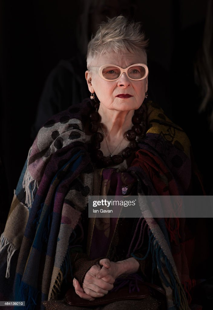 Vivienne Westwood watches her models rehearse backstage before her Vivienne Westwood Red Label show during London Fashion Week Fall/Winter 2015/16 at...