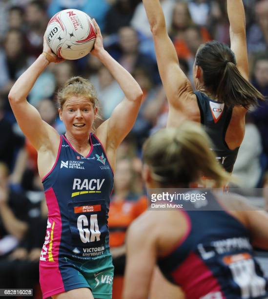 Vixens goal attack Tegan Philip passes the ball during the round 12 Super Netball match between the Giants and the Vixens at AIS on May 14 2017 in...