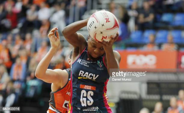 Vixens goal shooter Mwai Kumwenda catches the ball during the round 12 Super Netball match between the Giants and the Vixens at AIS on May 14 2017 in...