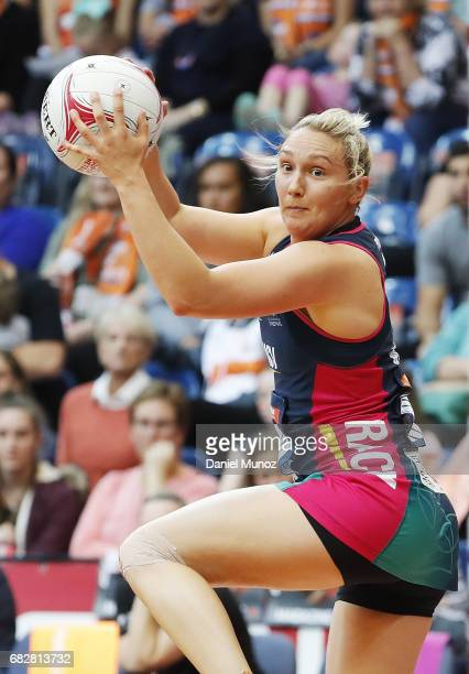 Vixens Khao Watts catches the ball during the round 12 Super Netball match between the Giants and the Vixens at AIS on May 14 2017 in Canberra...