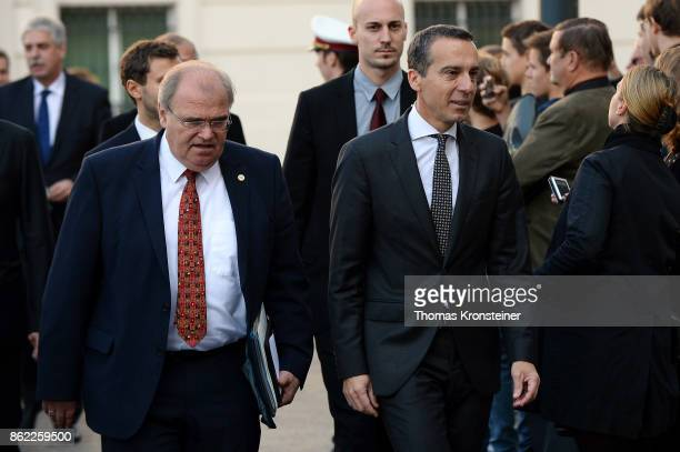VizeChancellor Wolfgang Brandstetter and Christian Kern Austrian Chancellor and leader of the Austrian Social Democrats arrive for the...