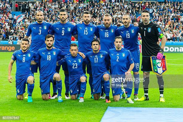 Monntag Europameisterschaft in Frankreich Paris Achtelfinale Italien Spanien 20 vl oben Giorgio Chiellini Graziano Pelle Andrea BarzagliDaniele De...