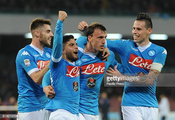 Vlad Chireches celebrates after scoring during the Italian Serie A soccer match between SSC Napoli and Chievo Verona at the San Paolo stadium in...