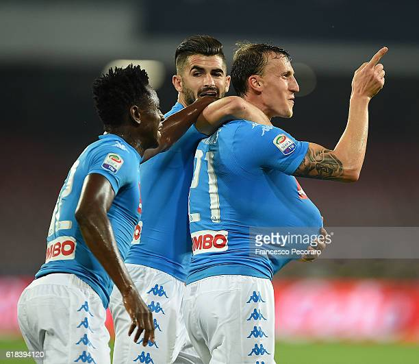 Vlad Chiriches and Amadou Diawara Elseid Hysaj of Napoli celebrates a goal 20 scored by Vlad Chiriches during the Serie A match between SSC Napoli...