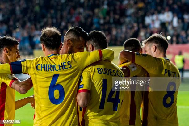 Vlad Chiriches Constantin Budescu Mihai Pintilii celebrating the second goal during the World Cup qualifying campaign 2018 game between Romania and...
