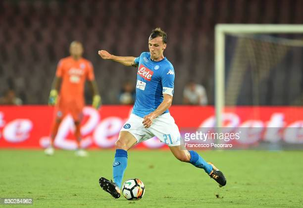 Vlad Chiriches of SSC Napoli in action during the preseason friendly match between SSC Napoli and Espanyol at Stadio San Paolo on August 10 2017 in...