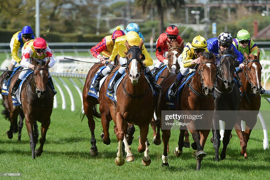 Vlad Duric riding Anaphora wins Race 3 during Melbourne Racing at Caulfield Racecourse on May 2 2015 in Melbourne Australia