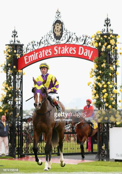 Vlad Duric riding Boomwaa returns to scale after winning race 1 The Hong Kong Jockey Club Maribyrnong Plate during Emirates Stakes Day at Flemington...