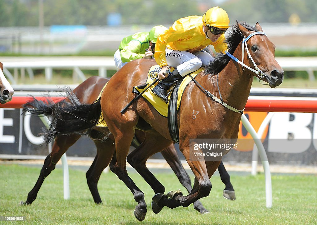Vlad Duric riding Diamond Glow wins the Ian Miller Vobis Gold Carat during Caulfield racing at Caulfield Racecourse on January 5, 2013 in Melbourne, Australia.