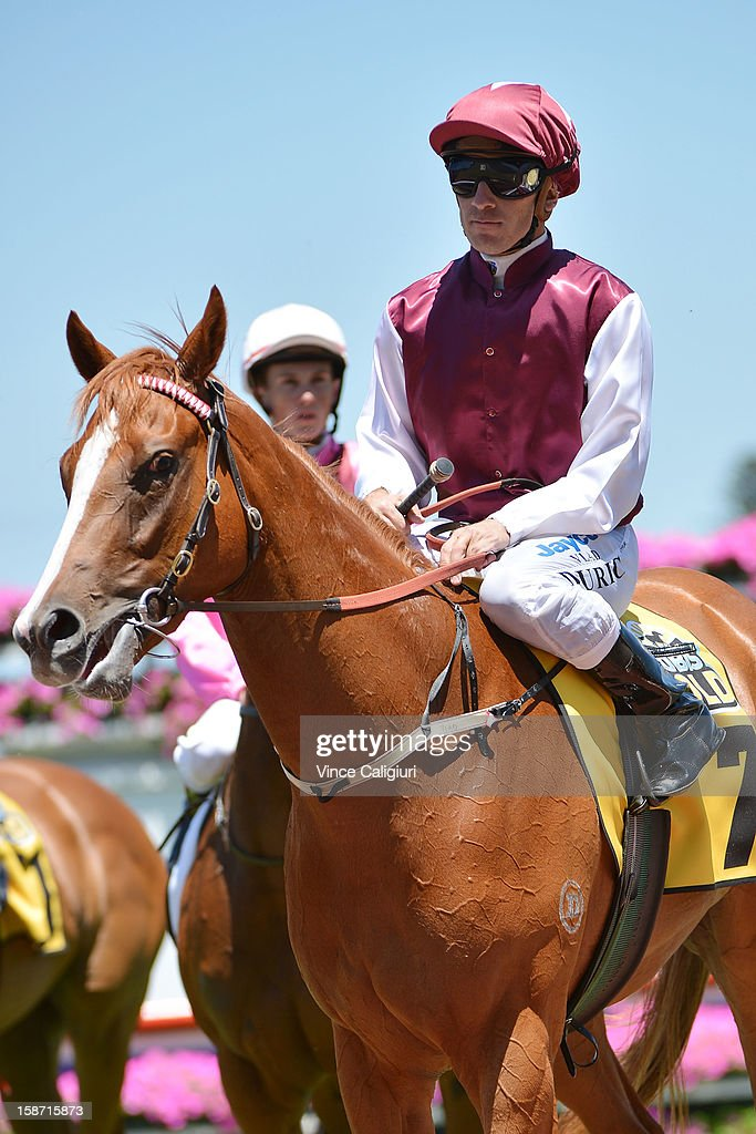 Vlad Duric riding Montsegur after winning the Joe Brown Plate at Caulfield Racecourse on December 26, 2012 in Melbourne, Australia.