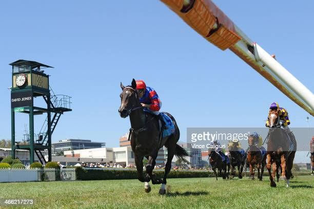 Vlad Duric riding Nayeli wins Race 4 the Mal Seccull Chairmans Stakes during Melbourne racing at Caulfield Racecourse on February 1 2014 in Melbourne...