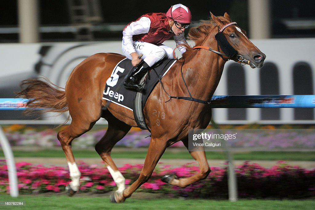 Vlad Duric riding Sari wins the Printhouse Kerry Gillespie Premium Handicap during Melbourne racing at Moonee Valley Racecourse on March 15, 2013 in Melbourne, Australia.