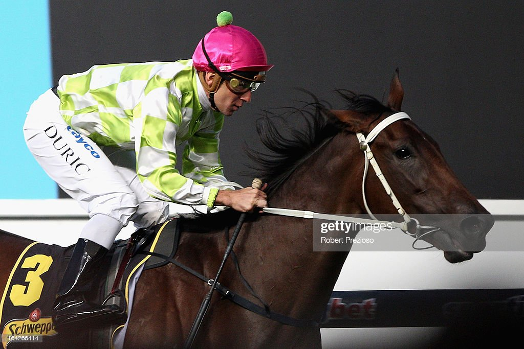 Vlad Duric riding You're So Good crosses the line to win Schweppes Alexandra Stakes during Melbourne racing at Moonee Valley Racecourse on March 22, 2013 in Melbourne, Australia.