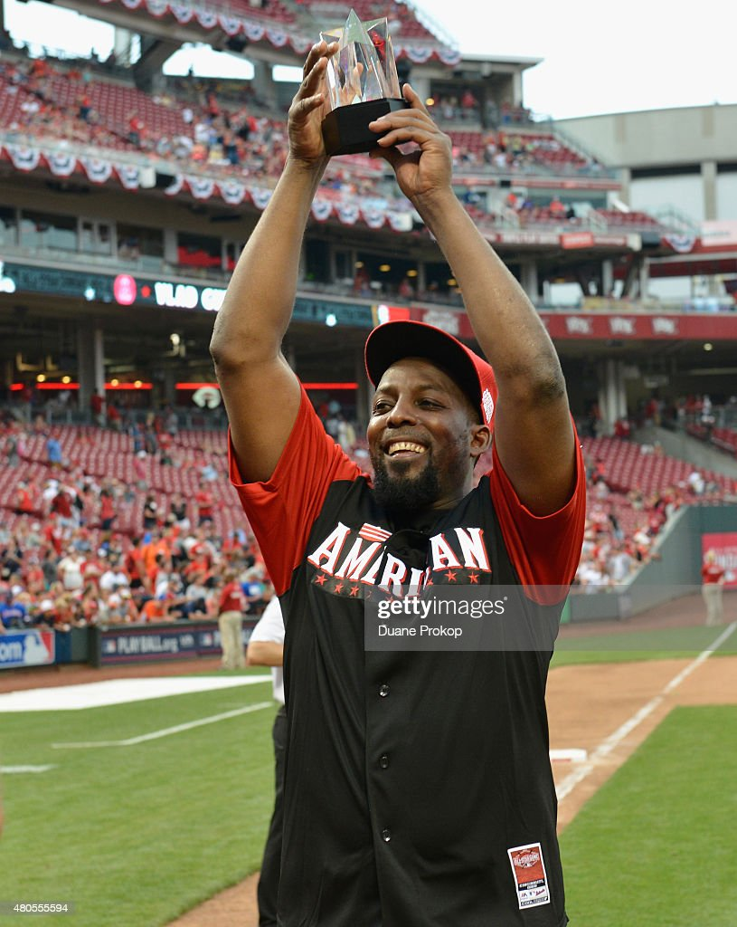 Vlad Guerrero with his MVP trophy during the 2015 MLB All-Star Legends and Celebrity Softball Game at Great American Ball Park on July 12, 2015 in Cincinnati, Ohio.