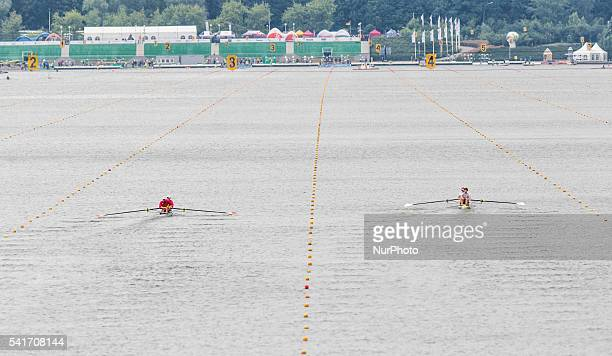 VladDragos Aicoboae ToaderAndrei Gontaru Nathaniel ReillyO`Donnell Matthew Tarrant M2 during the first day of the 2013 World Rowing World Cup in...