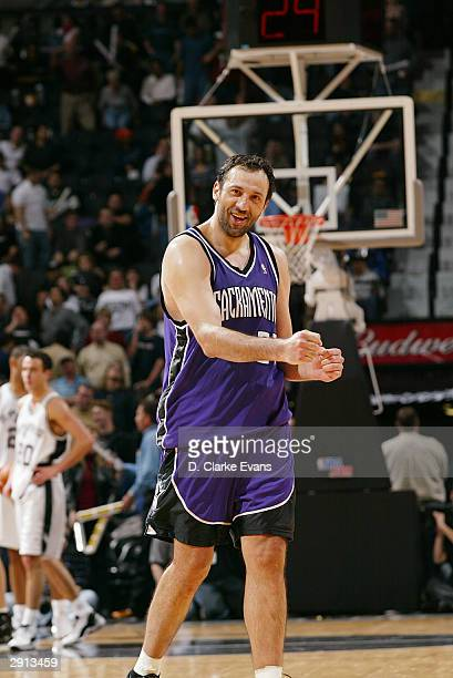Vlade Divac of the Sacramento Kings celebrates against the San Antonio Spurs January 29 2004 at the SBC Center in San Antonio Texas NOTE TO USER User...