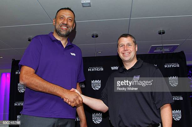 Vlade Divac poses for a photo with the Sacramento Kings new Head Coach Dave Joerger at a press conference on May 10 2016 at the Kings Experience...