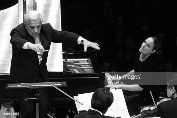 Vladimir Ashkenazy conducting Helene Grimaud and NHK Symphony Orchestra in Bartok's 'Piano Concerto No3' at Carnegie Hall on Monday night October 23...