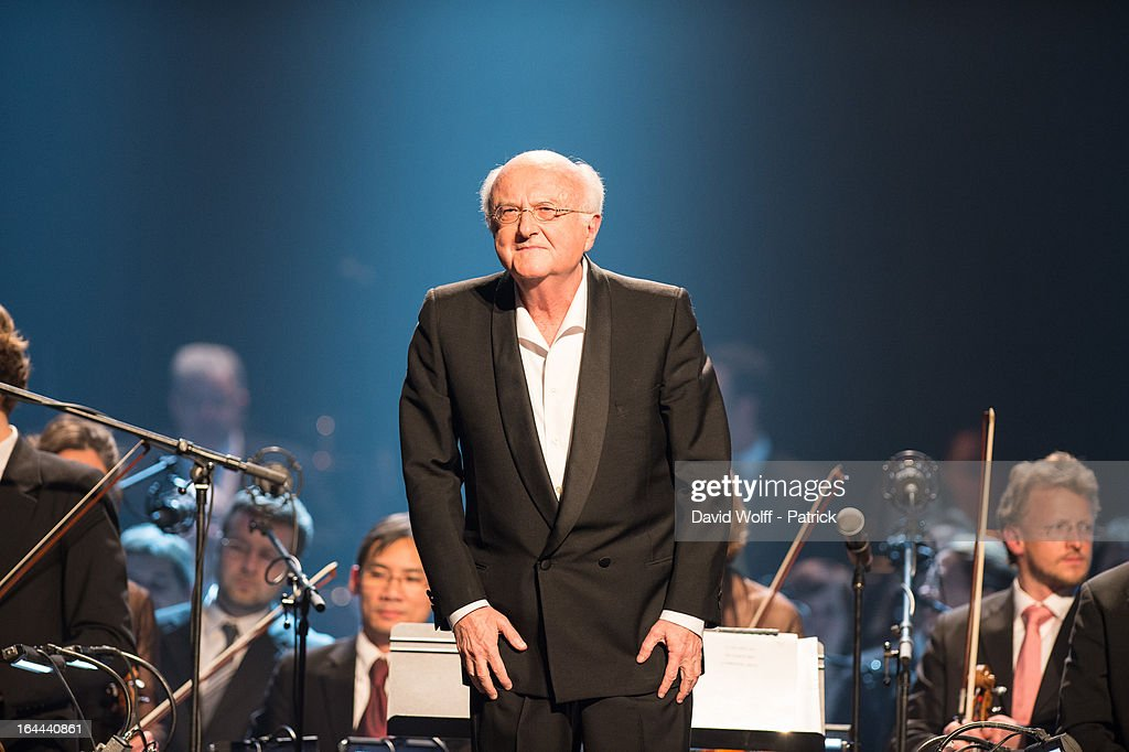 Vladimir Cosma performs at Le Grand Rex on March 23, 2013 in Paris, France.