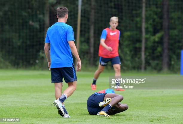 Vladimir Darida and Jordan Torunarigha of Hertha BSC during a training camp on July 10 2017 in Bad Saarow Germany