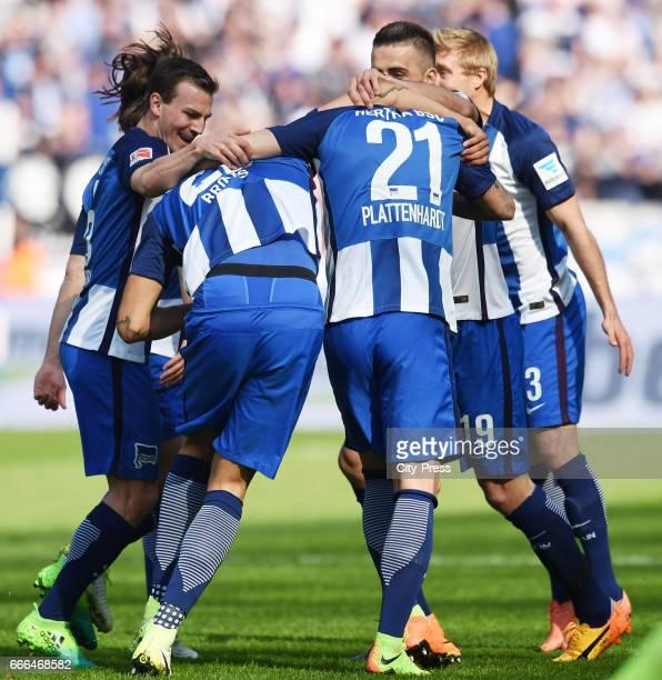 Vladimir Darida John Anthony Brooks Marvin Plattenhardt Vedad Ibisevic and Per Skjelbred of Hertha BSC celebrate after scoring the 10 during the game...