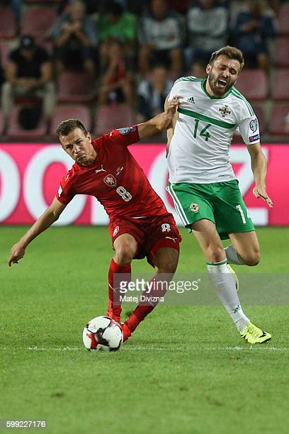 Vladimir Darida of Czech Republic competes for the ball with Stuart Dallas of Northern Ireland during the 2018 FIFA World Cup Qualifiers Group C...