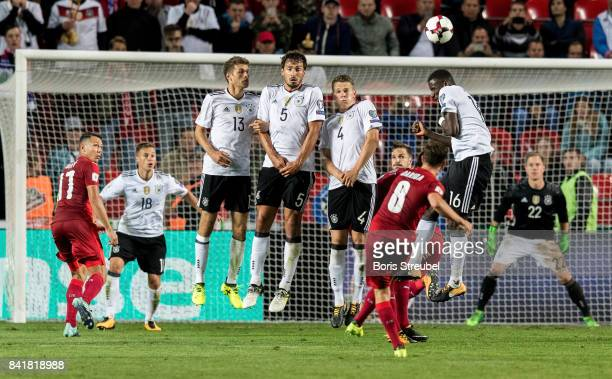 Vladimir Darida of Czech Republic takes a freekick during the FIFA 2018 World Cup Qualifier between Czech Republic and Germany at Eden Stadium on...