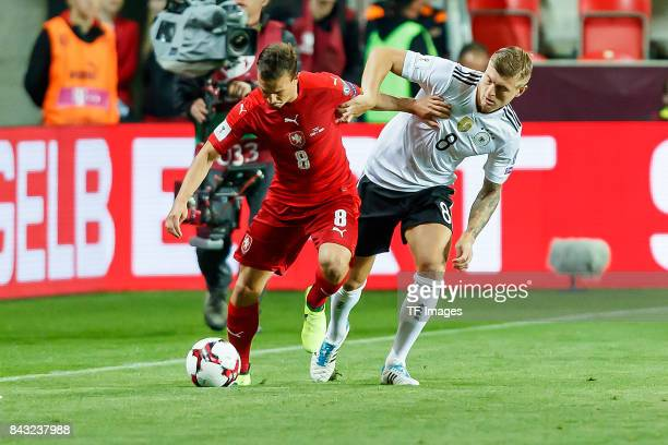 Vladimir Darida of Czech Republic und Toni Kroos of Germany battle for the ball during the FIFA 2018 World Cup Qualifier between Czech Republic and...