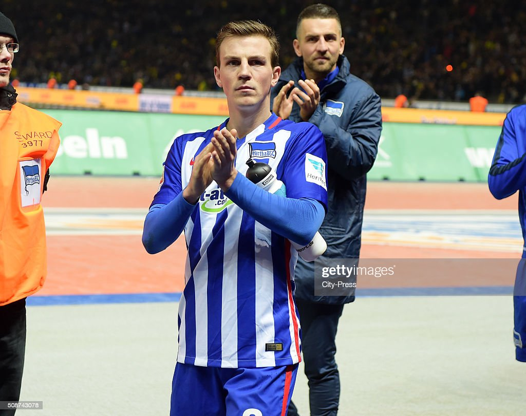 <a gi-track='captionPersonalityLinkClicked' href=/galleries/search?phrase=Vladimir+Darida&family=editorial&specificpeople=8709674 ng-click='$event.stopPropagation()'>Vladimir Darida</a> of Hertha BSC after the game between Hertha BSC and Borussia Dortmund on February 6, 2016 in Berlin, Germany.
