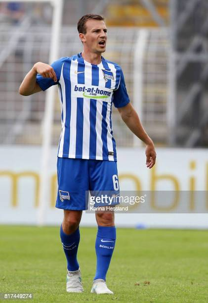 Vladimir Darida reacts of Hertha during the Preseason Friendly match between FC Carl Zeiss Jena and Hertha BSC on July 16 2017 in Jena Germany