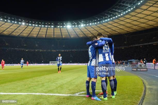 Vladimir Darida Vedad Ibisevic and Marvin Plattenhardt of Hertha BSC celebrate after scoring the 10 during the game between Hertha BSC and the...